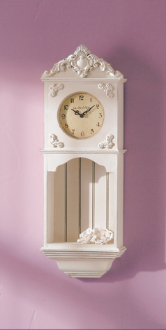 La Cote D�Azur Wood Wall Clock & Shelf